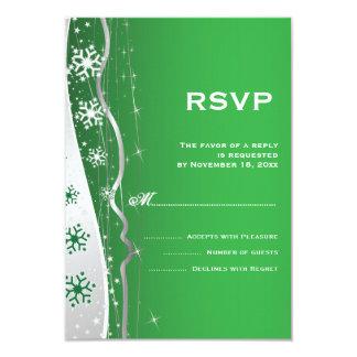 Green, silver grey snowflake winter wedding RSVP 9 Cm X 13 Cm Invitation Card