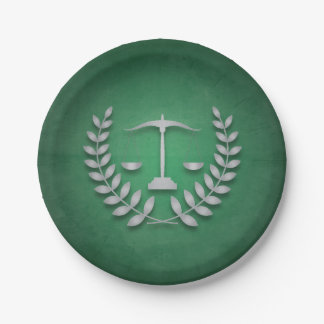 Green+Silver Justice Scales Legal/Law Graduation Paper Plate