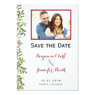 Green Simple Branches  Save the Date Card