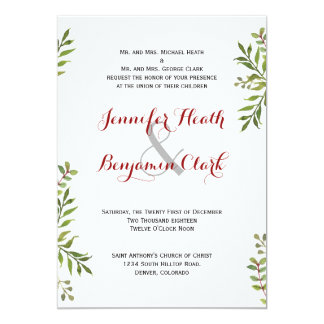 Green Simple Branches Wedding Invitation