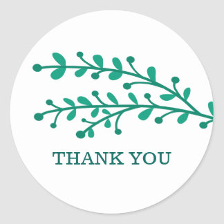 Green Simple Foliage Thank You Classic Round Sticker