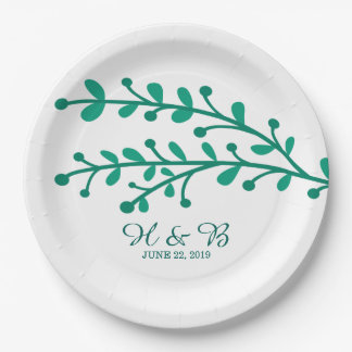 Green Simple Foliage Wedding 9 Inch Paper Plate