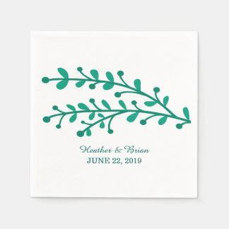 Green Simple Foliage Wedding Disposable Serviettes
