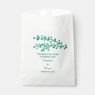 Green Simple Foliage Wedding Favour Bags