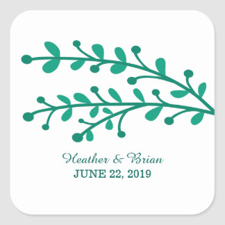 Green Simple Foliage Wedding Square Sticker