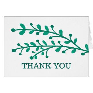 Green Simple Foliage Wedding Thank You Card