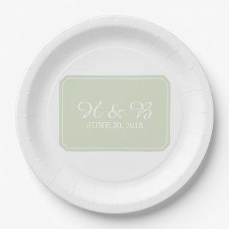 Green Simply Elegant Wedding Paper Plate