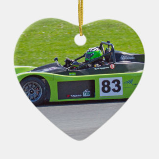 Green single seater race car christmas ornament