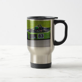 Green single seater race car travel mug