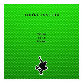 Green Skateboarding 13 Cm X 13 Cm Square Invitation Card