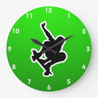Green Skateboarding Large Clock