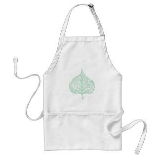 Green skeleton vein leaf drawing standard apron