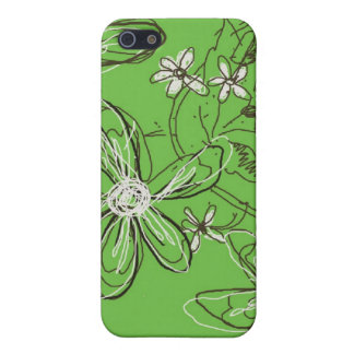 Green Sketched Flowers Speck iphone Case iPhone 5 Cover