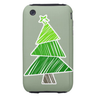 Green Sketchy Christmas Tree 3G/3GS Case-Mate iPhone 3 Tough Case