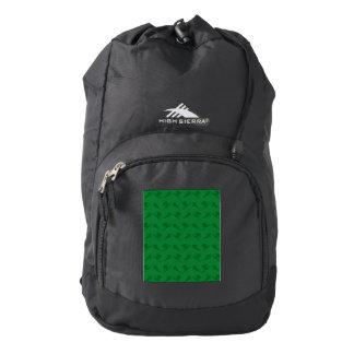 Green ski pattern backpack
