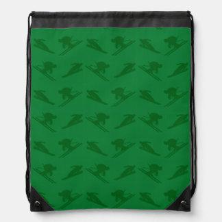 Green ski pattern drawstring bags