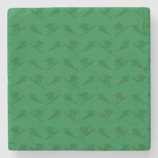 Green ski pattern stone coaster