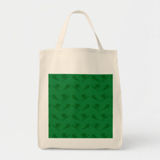 Green ski pattern grocery tote bag