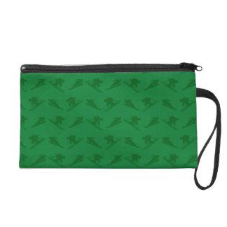 Green ski pattern wristlet clutch