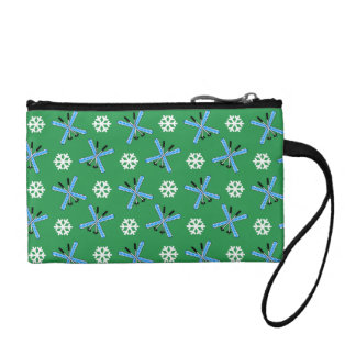 green skis and snowflakes pattern change purses