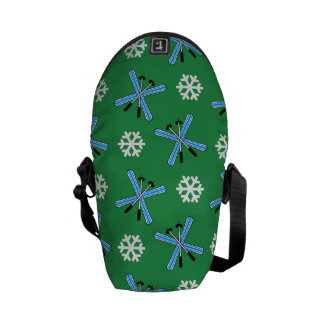 green skis and snowflakes pattern commuter bags