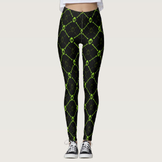 Green Skull and Bones Leggings