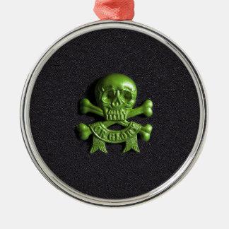 Green Skull and Cross bones Christmas Ornament