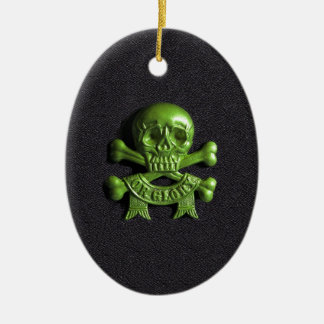 Green Skull and Cross bones Christmas Ornament