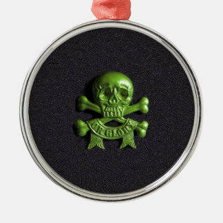 Green Skull and Cross bones Silver-Colored Round Decoration