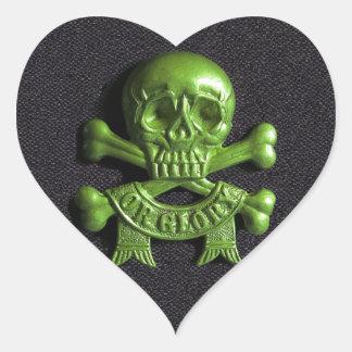 Green Skull and Cross bones Heart Sticker