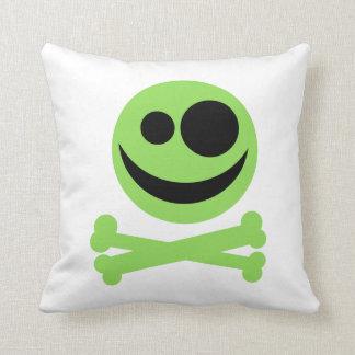 Green Skull and Crossbones. Cushion