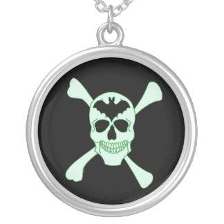 Green Skull And Crossbones Necklace