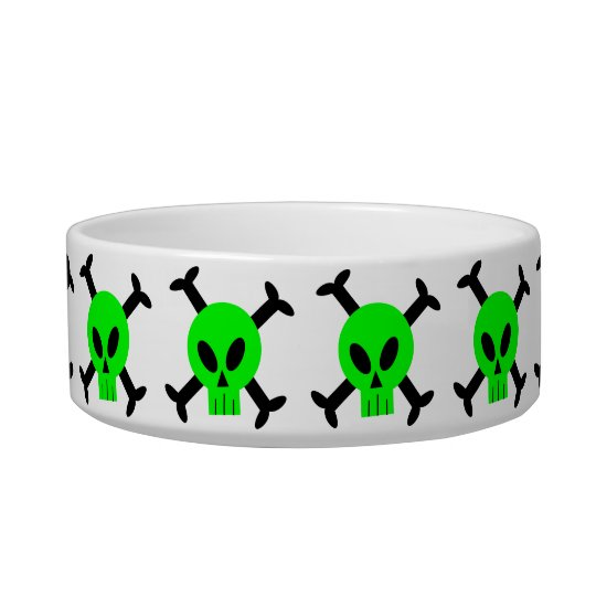 Green Skull And Crossbones Pet Bowl