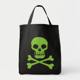 Green Skull and Crossbones Tote Bag