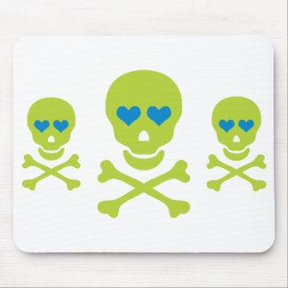 Green Skull Crossbones & Heart Eyes Mouse Pad