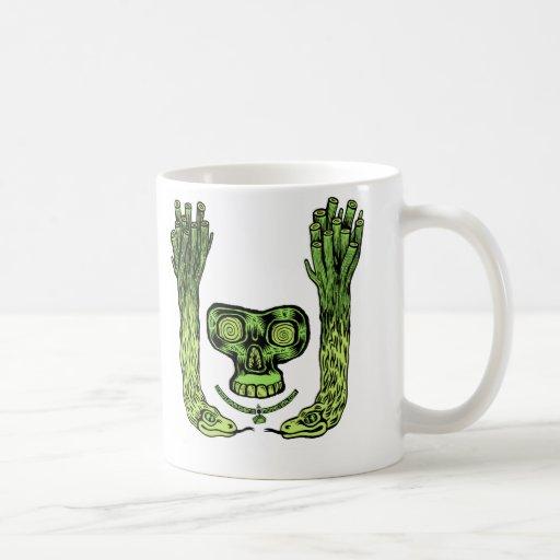 green skull double snake plant thing Mug