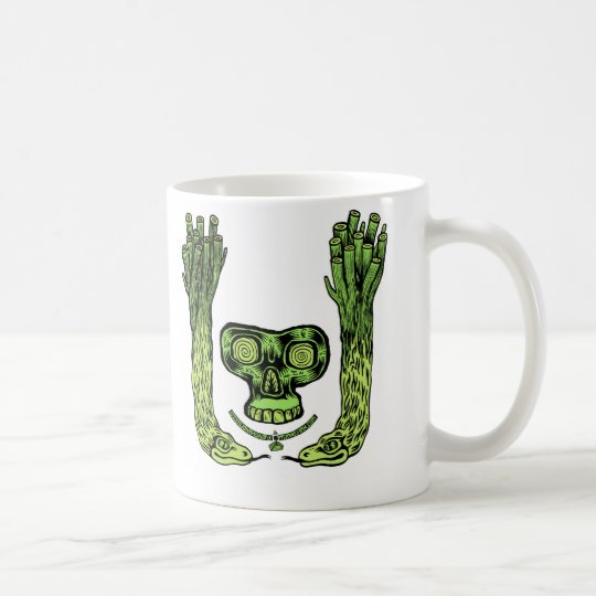 green skull double snake plant thing Mug