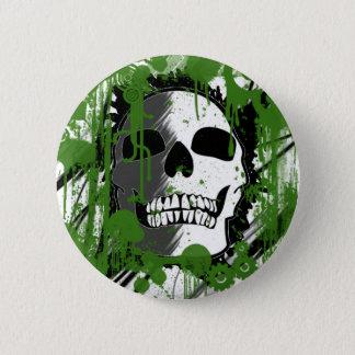 green skull head graffiti art 6 cm round badge