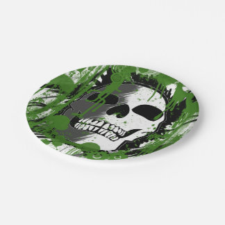 Green skull head graffiti art paper plate