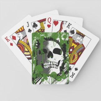 Green skull head graffiti art playing cards
