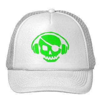 green skull head with headphones trucker hat