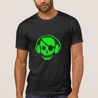 green skull head with headphones t shirt