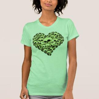 Green Skull Heart T Shirt