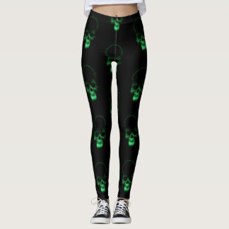 Green skull leggings