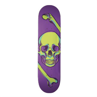 Green Skull on Purple Death 21.6 Cm Skateboard Deck