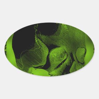 Green Skull Oval Sticker