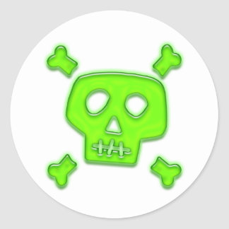 Green Skull Round Sticker