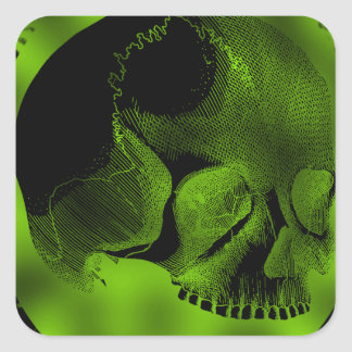Green Skull Square Sticker
