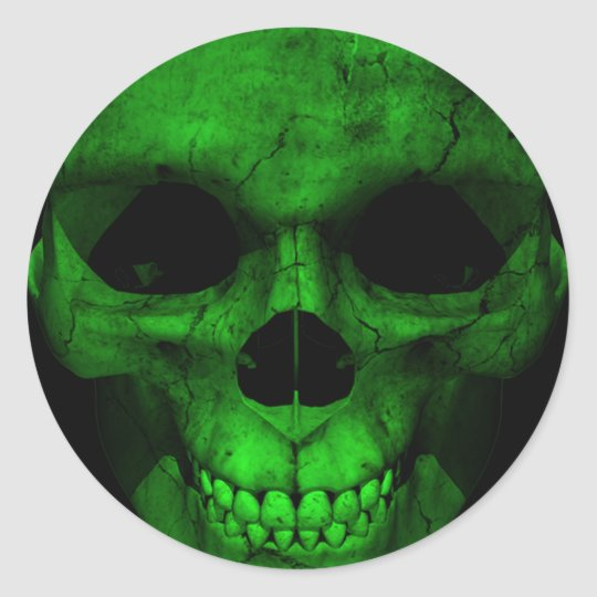 Green Skull with Black Background 2 Classic Round