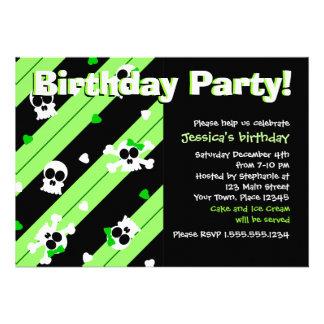 Green Skulls and Hearts Birthday Party Custom Invitations